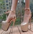 La nueva primavera y el verano de las sandalias de cabeza de pescado sexy zapatos de tacón alto 16 cm sexy bien con ultra-alta zapatos con impermeable