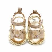 Летние сандалии для маленьких девочек; сандалии для новорожденных с милым котиком на мягкой подошве; цвет золотой; модные сандалии для маленьких девочек; детская обувь