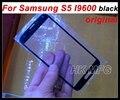Preto vidro da frente para galaxy s5 tampa de vidro da tela exterior original para samsung s5 i9600 touch screen original da capa