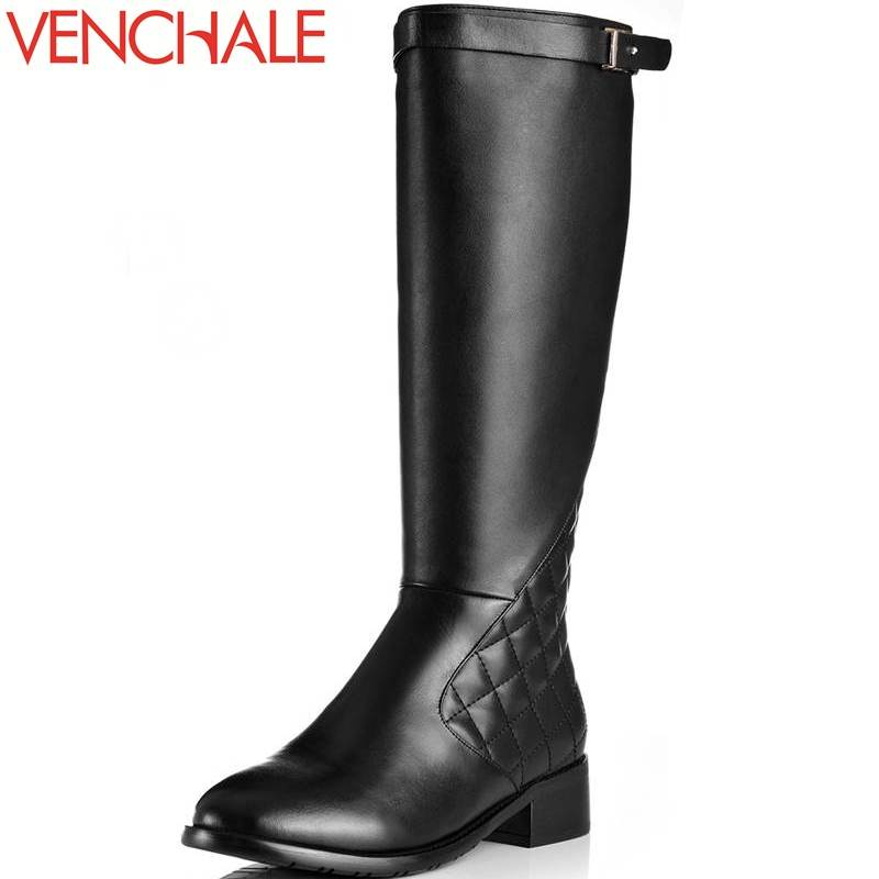VENCHALE knee-high boots round toe zipper thick heels buckle solid genuine leather modern winter warm queen solid women boots 2018 fashion genuine leather metal buckle mixed colors thick heels superstar winter boots round toe women mid calf boots l99