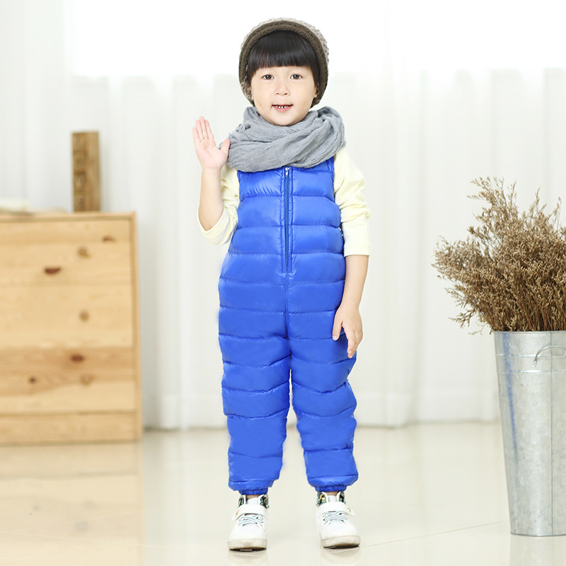 Winter Baby Down Pants 2016 New Fashion Boys And Girl Solid Baby Bib Overalls Zipper Overalls Kids