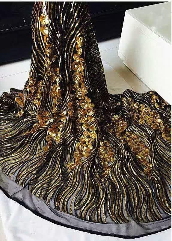 AFL-1! Černá + zlatá! Velkoobchodní africká síťovaná krajka s flitry, vysoce kvalitní francouzská krajková tkanina, módní síťovaná krajka na společenské šaty