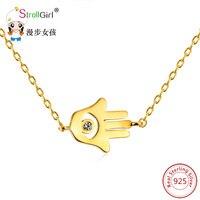 Strollgirl Подвески цепи 925 Серебро новый хамса руки Ожерелья и Подвески золото Цвет арабский рука Фатимы Lucky подарок