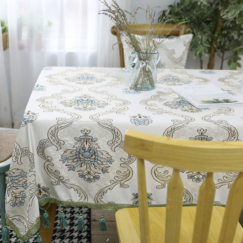 European Style Embroidery Print Tablecloth Rectangle Tassel Dining Table Cover Cloth Home Kitchen Decoration Tafelkleed