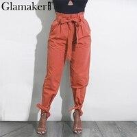 Glamaker فضفاض القوس كشكش النساء السراويل الصيف عارضة حزام السراويل عالية الخصر الصلبة النساء السراويل لياقة steetwear الإناث أسفل