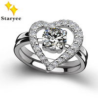 Perfect Match Real 14K Solid White Gold Moissanite Engagement Rings Set For Women 0.8 Carat Heart For Your Love Factory Price