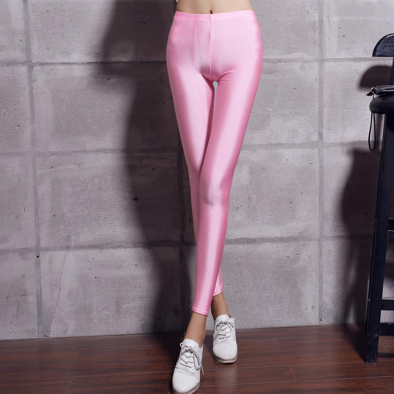New 20 Candy Colors Solid Fluorescent Leggings Women Casual Plus Size Multicolor Shiny Glossy Legging Female