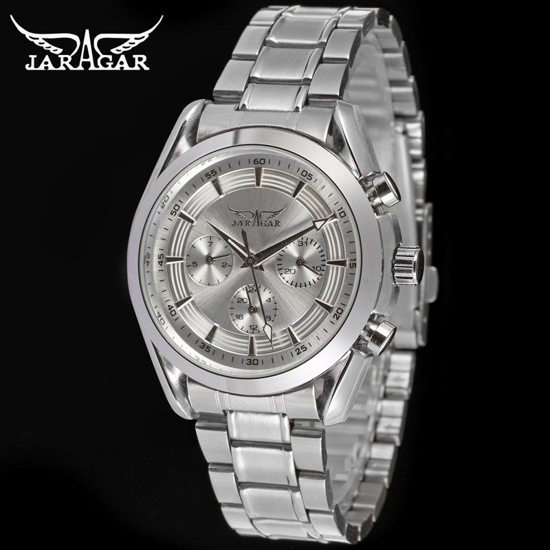 Jargar Automatic Men Watch Stainless Steel Band Mechanical Wristwatches Silver Color with Gift Box jag6903m4t1 new popular jargar automatic men watch factory stainless steel band best price free shipping with gift box