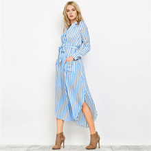 39c9ba03ddca59 Frauen Hemd Kleid Elegant Mit Gürtel Vertikale Striped Lange Strickjacke  Damen Revers Langarm Split Maxi Strand