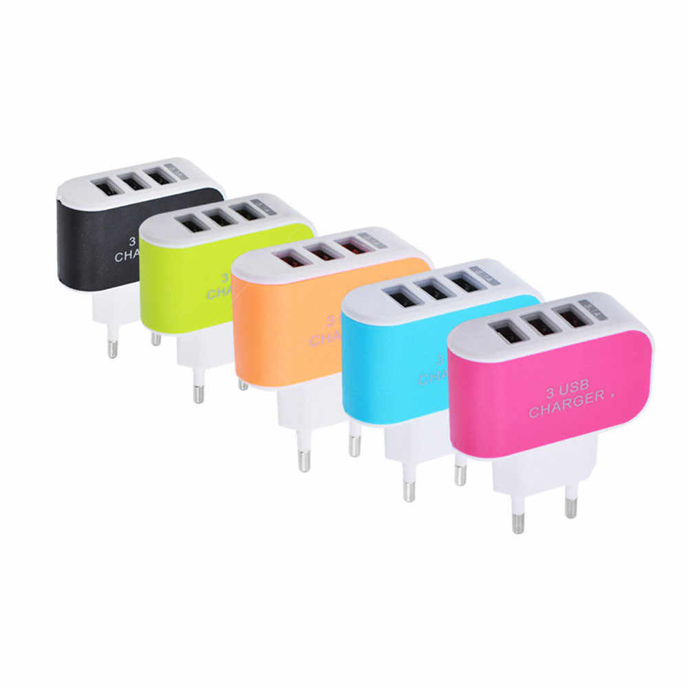 3.1A Tiga Port USB Travel Charger AC Adaptor Dinding Rumah untuk Apple Iphone 6 6S 5 5S 4 4S 3GS 2019