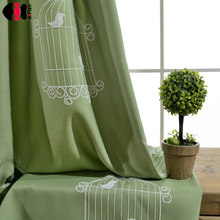 Fabric Cloth Bird Embroidered green curtains for Children Blinds Window Tulle drapery for Living Room Blinds Cortinas WP008C(China)