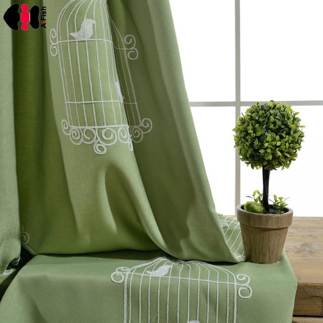 Stoff Tuch Vogel Bestickt Grüne Vorhänge Für Kinder Jalousien