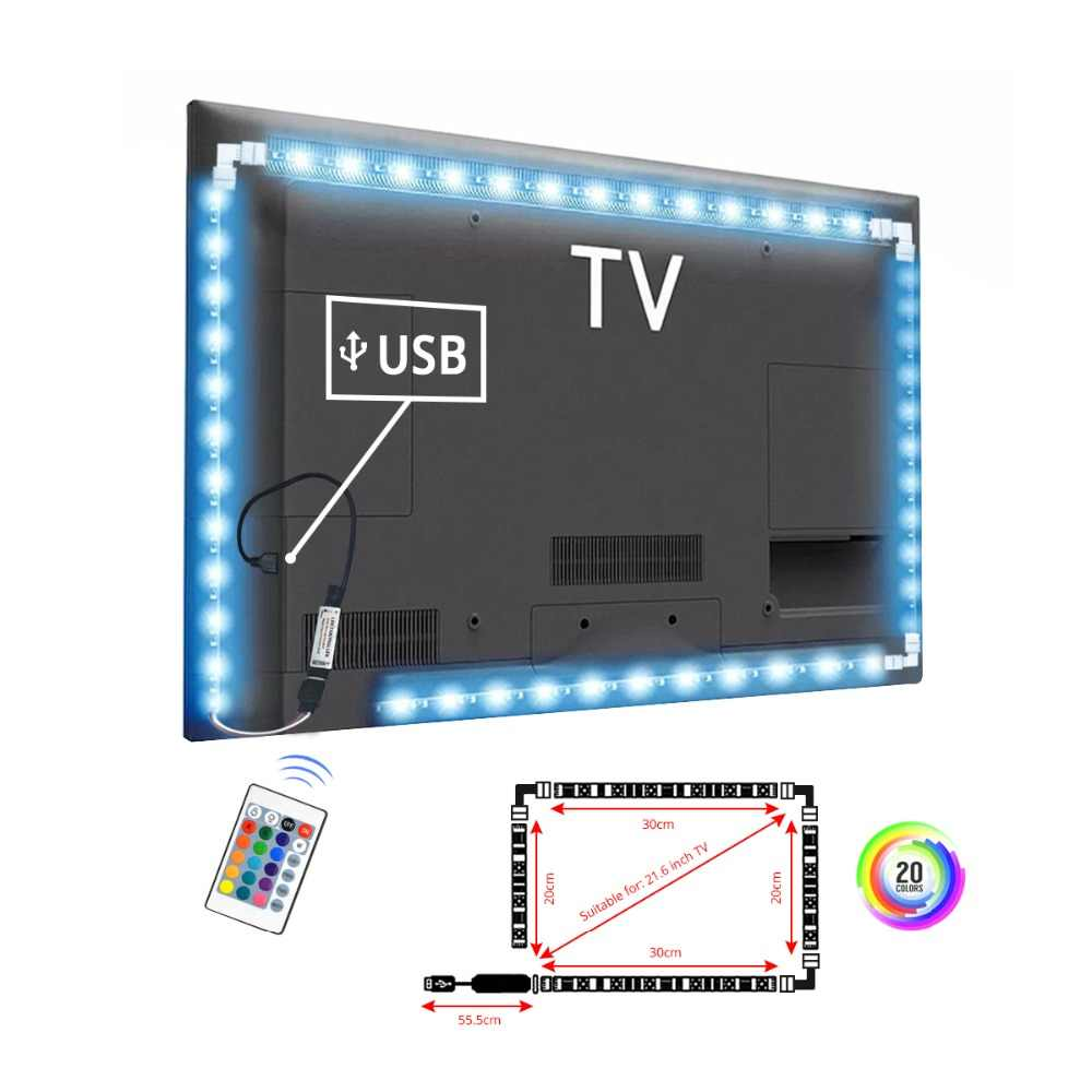 USB LED Lampu Strip Real RGB 5050SMD dengan L Konektor Rumah TV Laptop DIY Cutting Dekorasi IR Remote Control DC 5 V USB LED Lampu