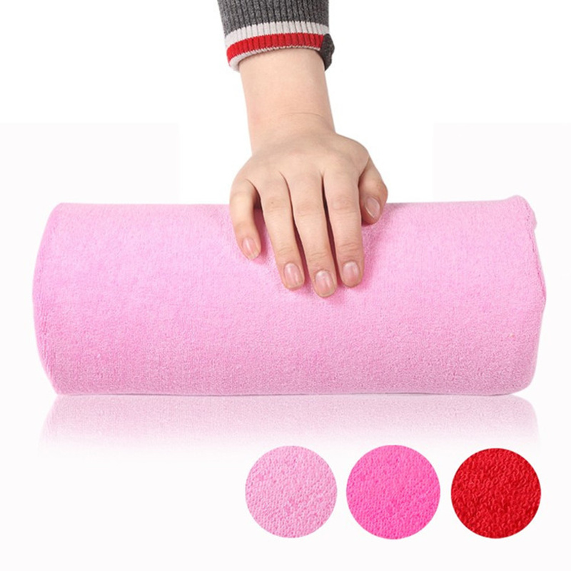 Pink Detachable Sponge Towel Hand Pillow Holder Soft Cushion Half Column Nail Armrest Manicure Accessories Tool Nail Kit