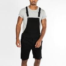 лучшая цена 2019 Summer Men's Overall Trousers Men's Short Jeans Fashion Male's Jeans Bib Pants Solid Casual Man's Suspender Trousers D40