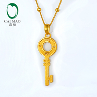 CAIMAO 24K Pure Yellow Gold Key Charm Pendant Real 999 3d Hard Gold Process Fine Jewelry Exquisite Gift