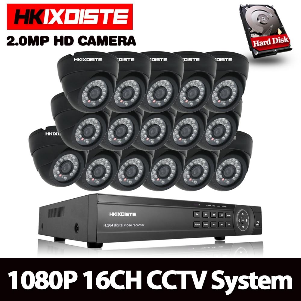 HKIXDISTE CCTV sistema 16CH AHD Kit HD Domo 2.0mp 1080 p cámaras con IR CUT inicio Sistema de Vigilancia 16 canales DVR Kit