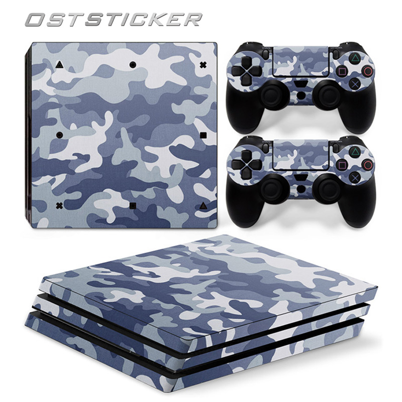 free shipping OSTSTICKER White Camouflage For PS4 Pro Skin Sticker For Sony Playstation 4 Pro Console and 2Pcs Controller Skins
