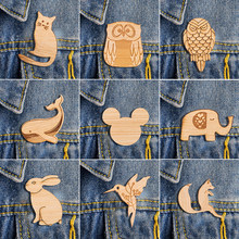 Jisensp Origami Fox Animal Pin Cute Woodland Rabbit Enamel Pins Badges Brooches Lapel Pin Cat Jewelry Brooches for Women bijoux(China)