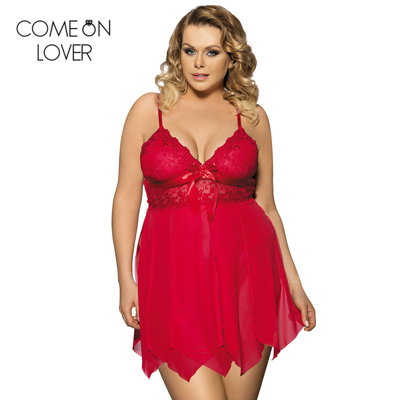 Comeonlover Deep v neck strap sexy mini night dress hot side slit lingerie plus size tempatation womens robes sleepwear RE80092
