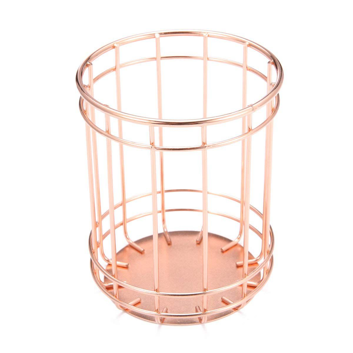 Rose Gold Wire Net Pencil Holder Round Iron Mesh Pen Cup Stationery Organizer Desk Sorter For Office Home School Traveling Pen Holders