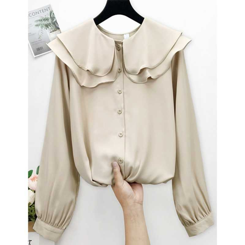 Gifts Free Spring Lovely Peter Pan Collar Women Chiffon Shirt Solid Ruffled Button Long-Sleeved Shirt Top Female Casual Blouses