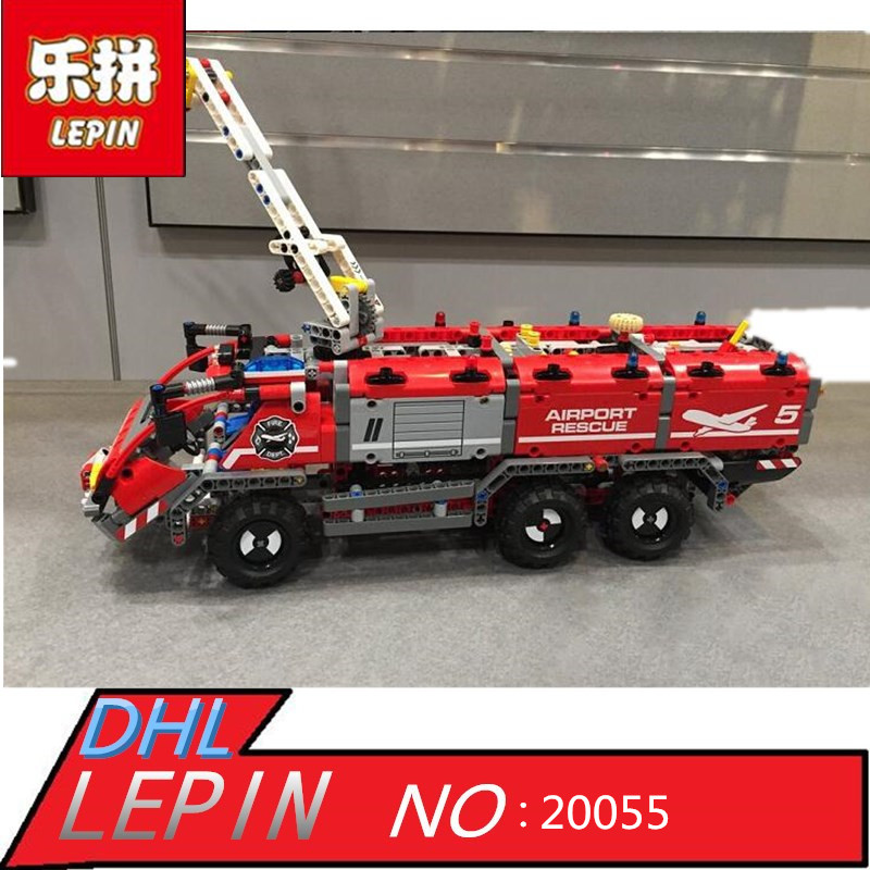 Lepin 20055 Genuine Technic Mechanical Series The Rescue Vehicle Set Children Educational Building Blocks Bricks Toys Gift 42068 the rescue