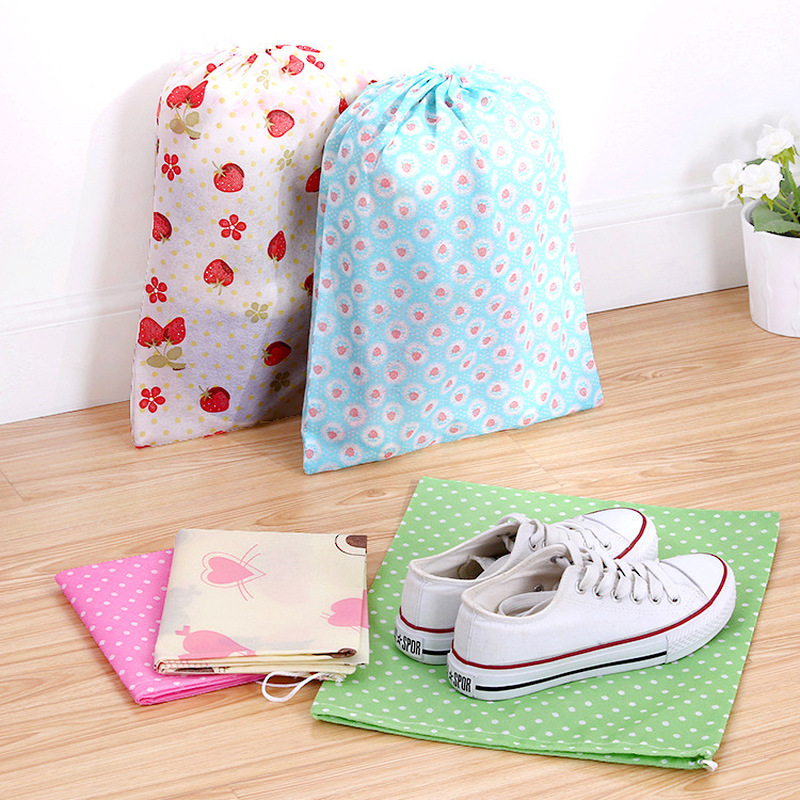 Dustproof Drawstring Shoe Bags Travel Luggage Accessories Underwear Clothes Packing Organizers Country Style Non-Woven Pouch
