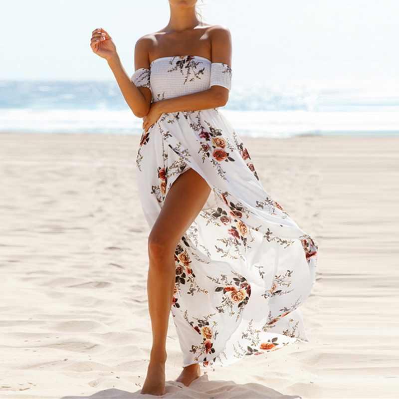 women Boho style long dress Off shoulder summer beach dresses