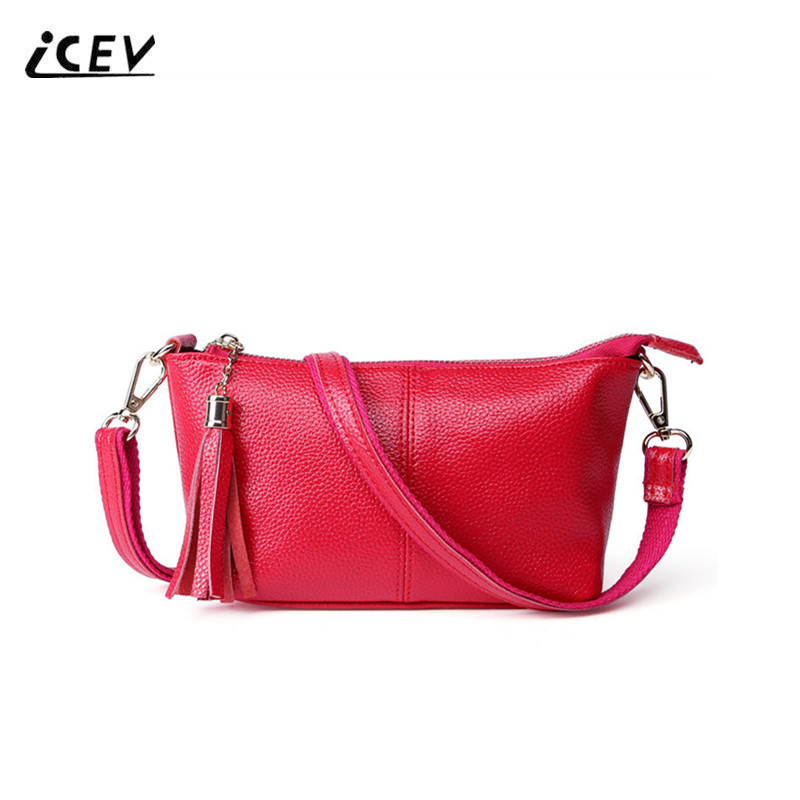 ICEV Hot Sale Fashion Genuine Leather Crossbody Bags for Women Messenger Bags Tassel High Quality Ladies Simple Shoulder Bag Sac