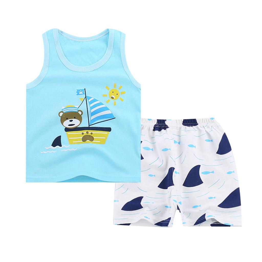 Baby Boy Girl Kids Sleeveless Cartoon Tracksuit Sport Suit Vest Pants Clothing T