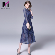Merchall HIGH QUALITY New Fashion 2019  Autumn Runway Party Dress Womens Long Sleeve Elegan Hollow Out Lace Mid-calf Dresses
