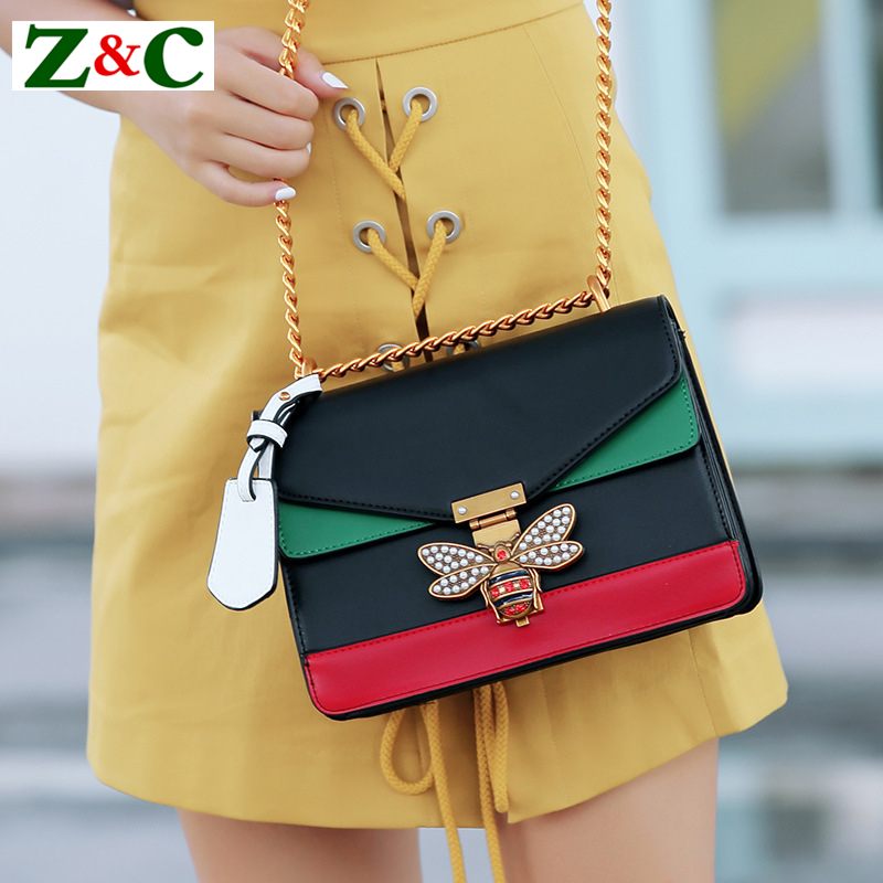 Luxury Brand Women Color Splicing Little Bee Bags Lady Clutches Locks Famous Designer Handbags Gold Chain Shoulder Messenger Bag luxury brand women messenger bags little bee handbags crossbody bag lady diamond rivet shoulder famous designer clutch purse sac