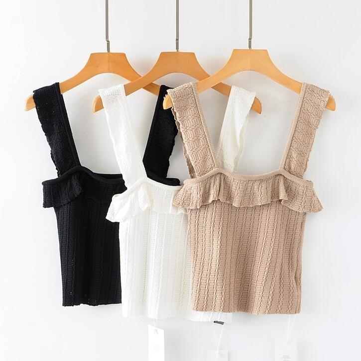 2019 Summer Women Crochet Knitting Tank Tops Ruffles Knitting Camis Vintage Women Knit Tops
