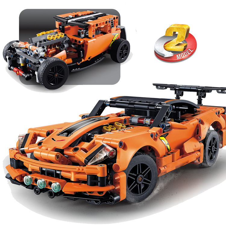 DECOOL TECHNIC 2in1 Chevrolet Corvette ZR1 Truck Lepinlys City Car Building Blocks Toys For Childrens Gifts Compatible 42093