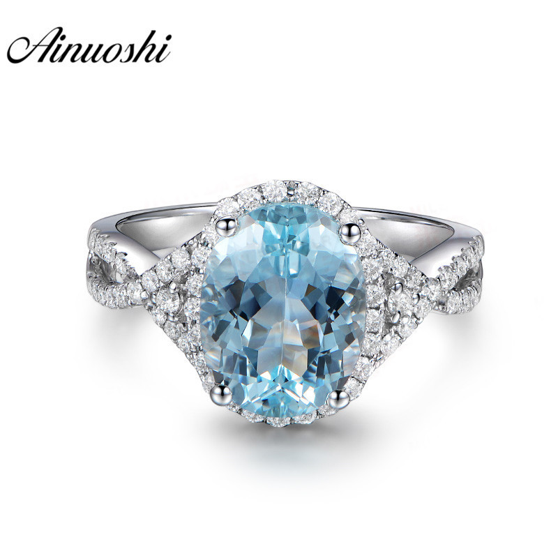AINUOSHI Pure 925 Sterling Silver Topaz Weave Ring 3ct Oval Cut Natural Sky Blue Topaz Ring Fine Engagement Jewelry for Female