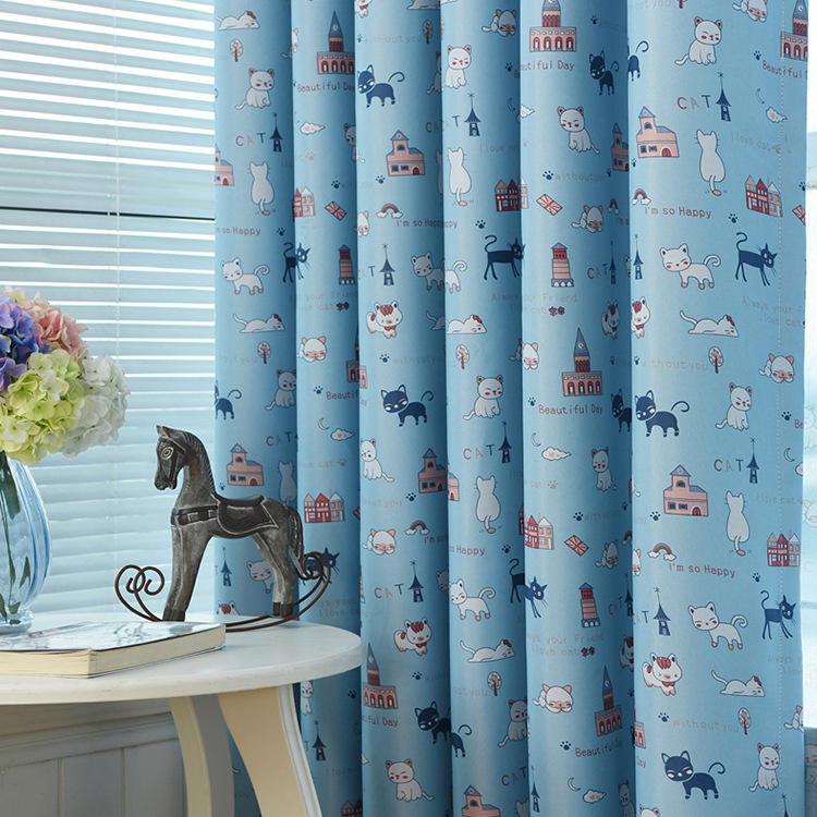 Curtain For Balcony: Cat Printing Cloth Children Kids Curtains For Bedroom