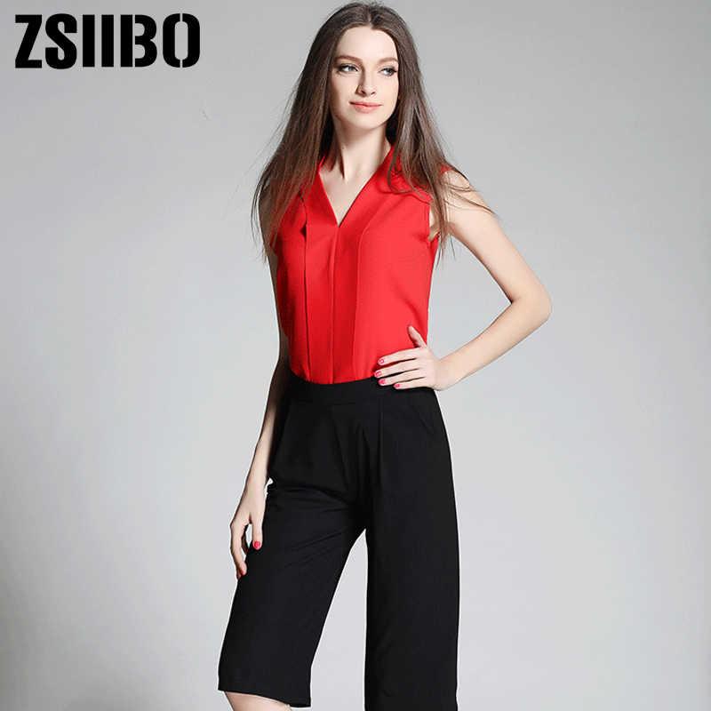 c6f16f73419 Офисные шифоновые блузки 2019 Лето корейский стиль летние женские топы без  рукавов Женская рубашка Blusas Femininas