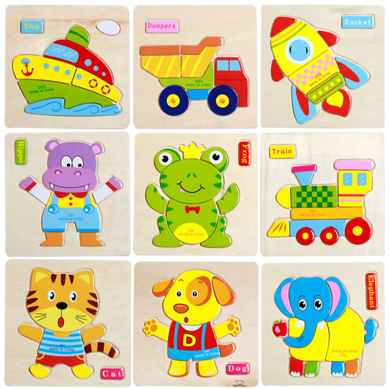 1pcs Kids Wooden 3D Puzzles Animals Vehicles Picture Puzzle Baby Intelligence Educational Toys Children Early Development