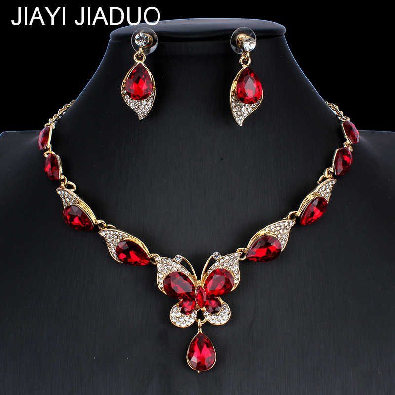 jiayijiaduo Bridal Wedding Jewelry Set / Crystal Butterfly Necklace Earring Set for Cute Women's Wedding Jewelry  NE+EA