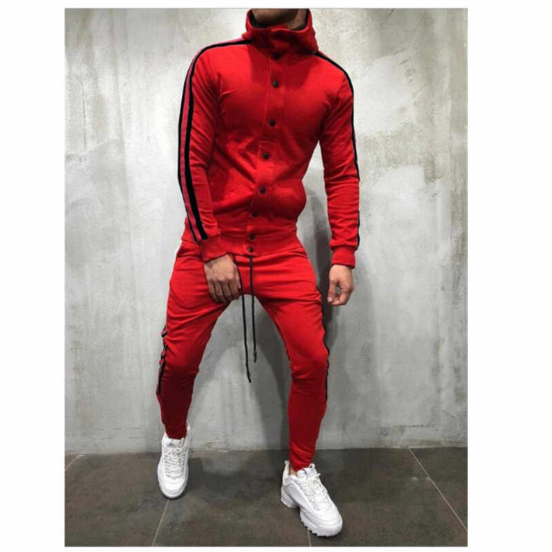 Sweat Suits Clothing Casual Summer Tracksuits Stand Collars Streetwar Tops Mens Button Sport suit 2 piece Men's suit