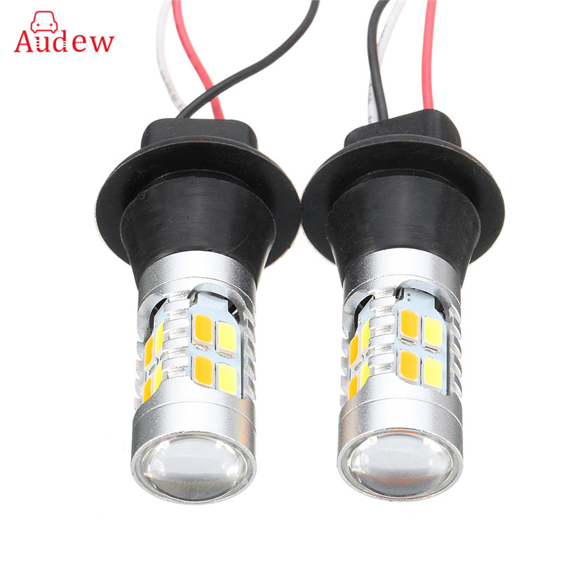 2Pcs 7440 20SMD T20 5730 LED Car Dual Color Switchback Reverse Turn Signal Lights DRL Bulbs White To yellow 2x dual color switchback 3157 20 smd 5730 led bulbs turn signal light high power