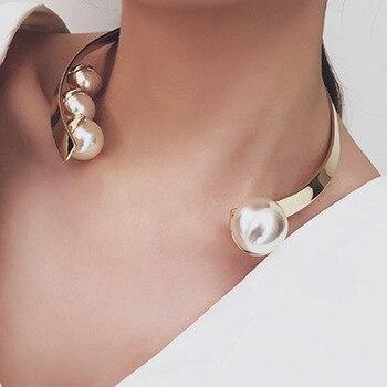 Moderne De Mode Couples Colliers pour les Femmes Simulé Perle Large Ouvert Perlas Collier Collier Bijoux 6L5002