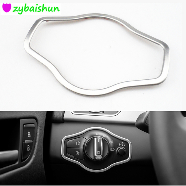 Car headlight switch panel decorative frame cover trim stainless steel strip interior molding for Audi A4 Q5 A5 2010-2015