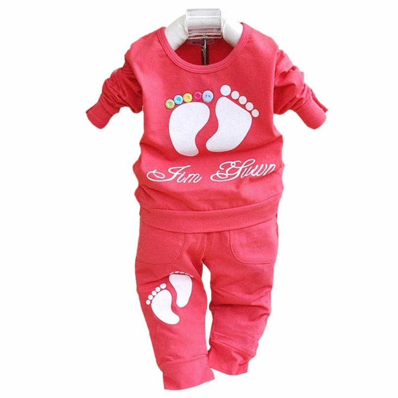 Kids Girls Boys Long Sleeve Little Feet Shirt Pant Set Clothing  D50