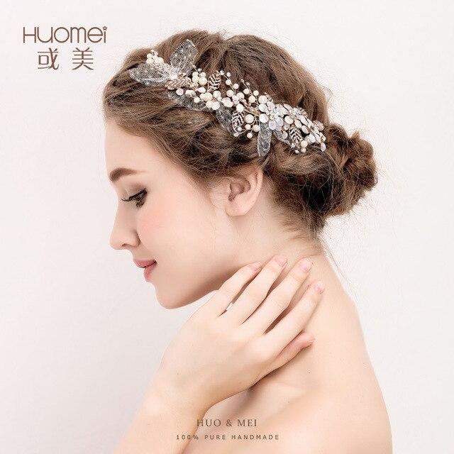 J678 Hot Bride Jewelry Manufacturers Whole Pearl Fine Hair Yarn Flower Hairpin Headdress Wedding Accessories