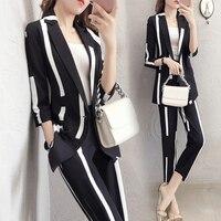 2018 summer women's new seven point sleeve Slim striped suit suit temperament fashion seven pants ladies two piece TB18603
