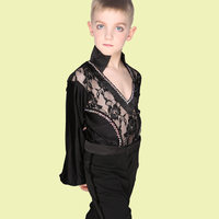 1 piece mens Latin Dance shirt Boys Ballroom Dance lace cloth pick color