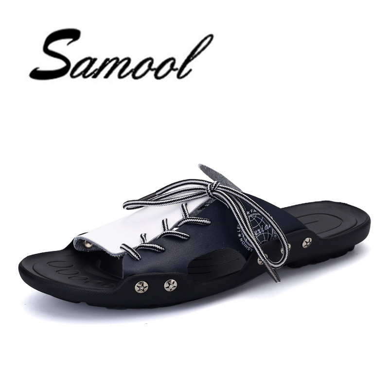 Summer Men black white lace up Soft Bokeng slippers Casual Male Cool Beach flip flops breathable floor indoor home slipper lx5