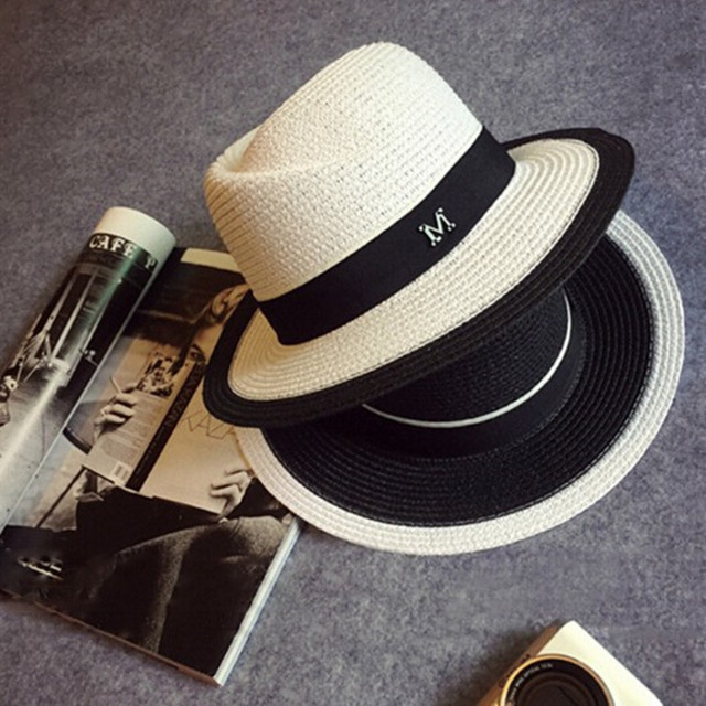 Panama hat Spring and summer white black female hat Sun hat shade straw hat beach